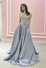 Side Pockets Satin A-Line Prom Dress with Sparkling Beads Short Sleeve