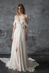 Side Slit Chiffon A-line Off-the-shoulder Wedding Dress