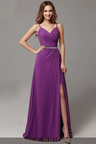 Side Slit Satin Chiffon A-Line Grape Prom Dress with Beaded Belt