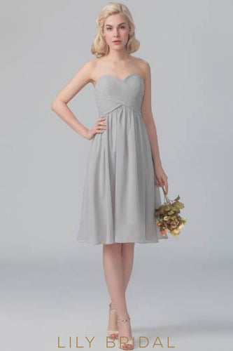 Silver Chiffon Strapless Sweetheart Short Bridesmaid Dress With Ruched Bodice