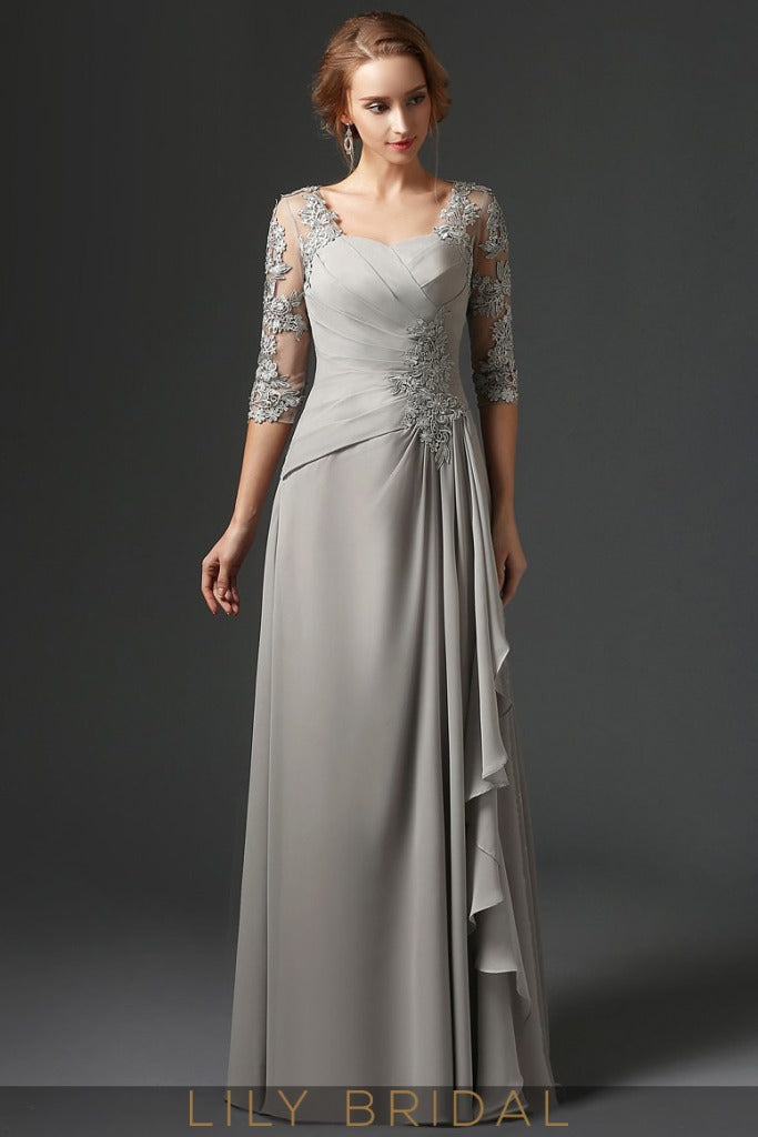 Silver Grey Lace Chiffon Sweetheart Elbow Sleeve A-Line Mother of the Bride Dresses