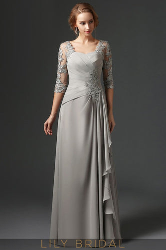 38fcc1e54f2 Silver Chiffon Sweetheart Half Sleeve A-Line Mother of the Bride Dress With  Lace