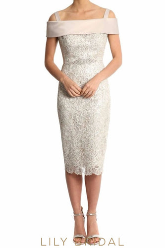 Ivory Off-The-Shoulder Strap Sheath Tea Length Lace Mother of the Bride Dress