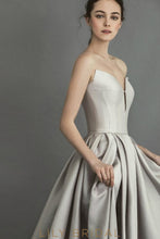 Silver Satin Deep Cut Ball Gown