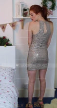 Silver Sequin Jewel Neck Mini Bodycon Prom Dress