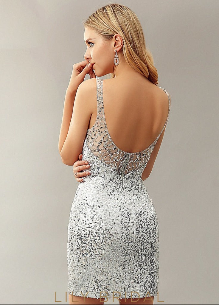 Sequin V-Neckline Sleeveless Bodycon Backless Cocktail Dress