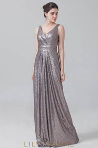 Silver Sequin V-Neck Empire Waist Sweep Train Evening Dress