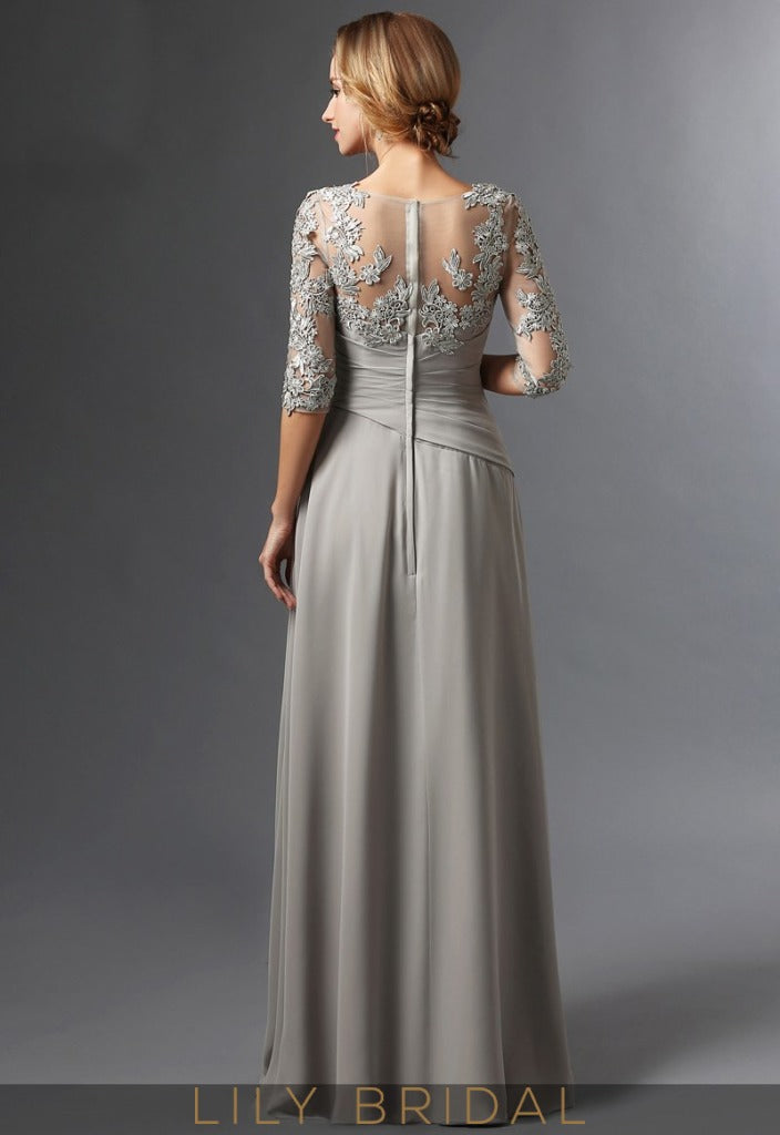 Grey Lace Chiffon Sweetheart Elbow Sleeve A-Line Mother of the Bride Dresses