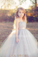 Silver Tulle Ball Gown Flower Girl Dress With Satin Ribbon