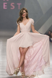Simple Blush Chiffon High Low Pleated V-Neckline Cap Sleeve Long Prom Dress