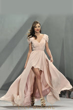 Blush Pink Satin Chiffon High Low Ruched V-Neckline Cap Sleeve Long Prom Dress