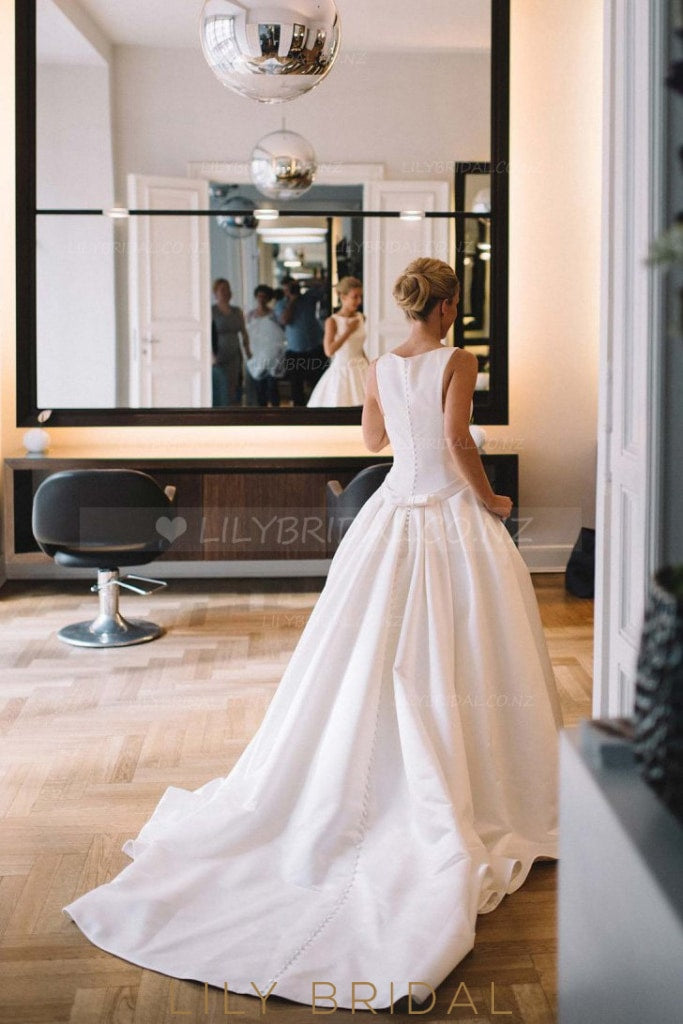 Simple Jewel Neck Court Train A-Line Satin Bridal Dress