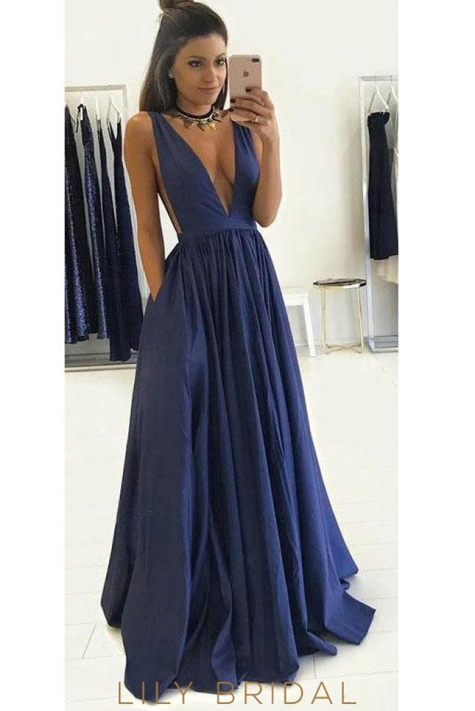 Simple Satin A-line Plunging V-Neckline Prom Dress with Pockets