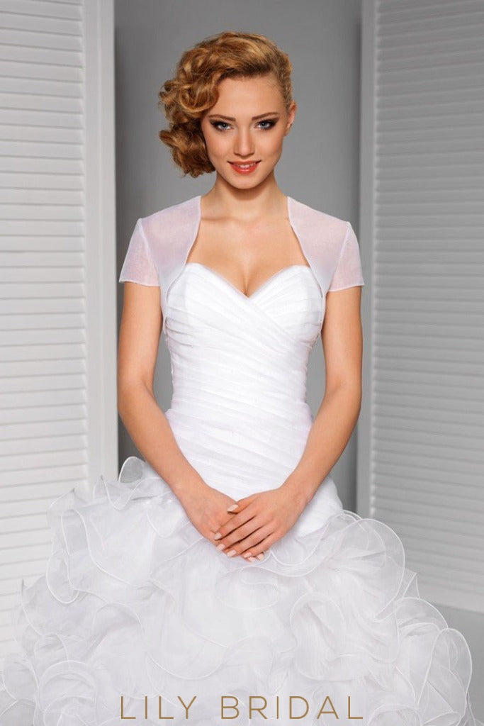Simple Short Sleeve Illusion Tulle Weeding Jacket