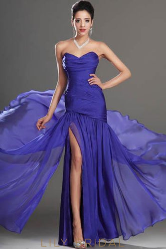 Simple Sweetheart Strapless Ruched Chiffon Formal Evening Dress With Side Slit
