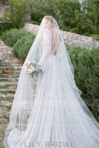 Single Layer Cathedral Veil in Silk Effect Tulle