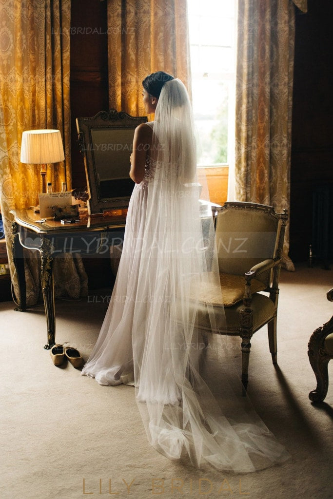 Single Layer Chapel Length Wedding Veil in Silk Effect Tulle