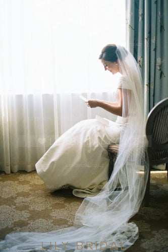 Single Layer Chapel Length Wedding Veil With Lace Bottom