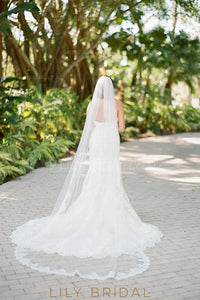 Single Layer Chapel Veil With Scalloped Lace Applique