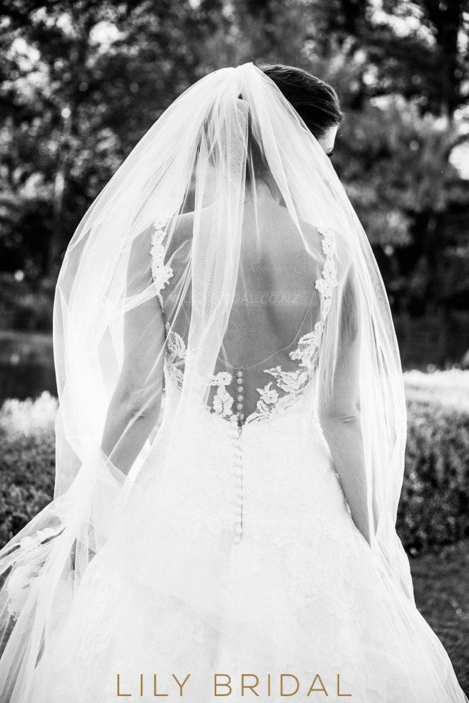 Single Layer Cut Edge Cathedral Bridal Veil in Silk Effect Tulle