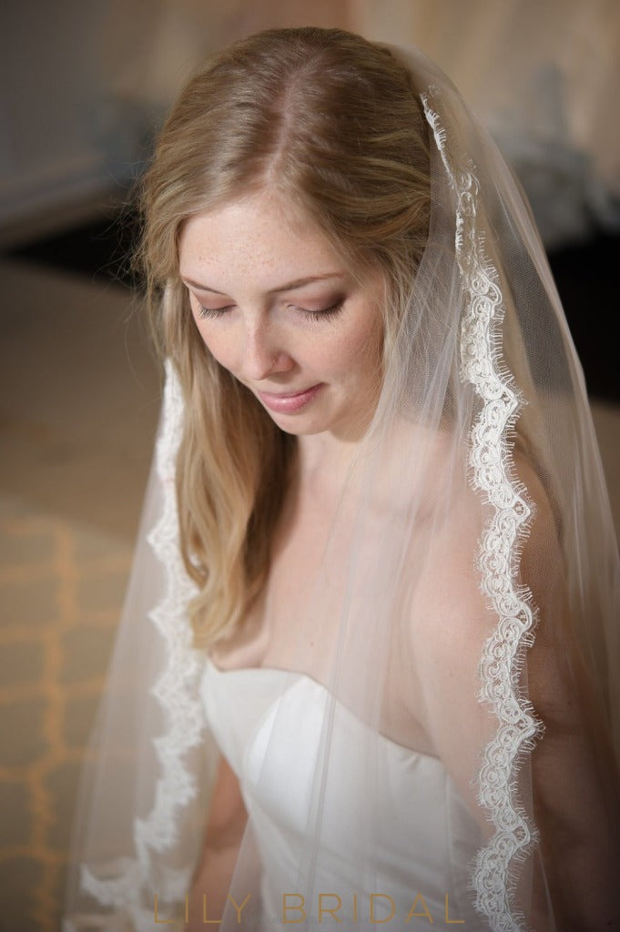 scalloped lace edge weeding veil