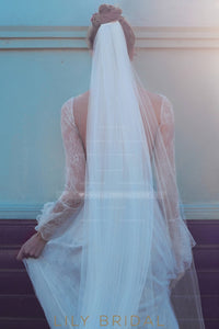 Single Layer Silk Effect Cathedral Veil With Cut Edge