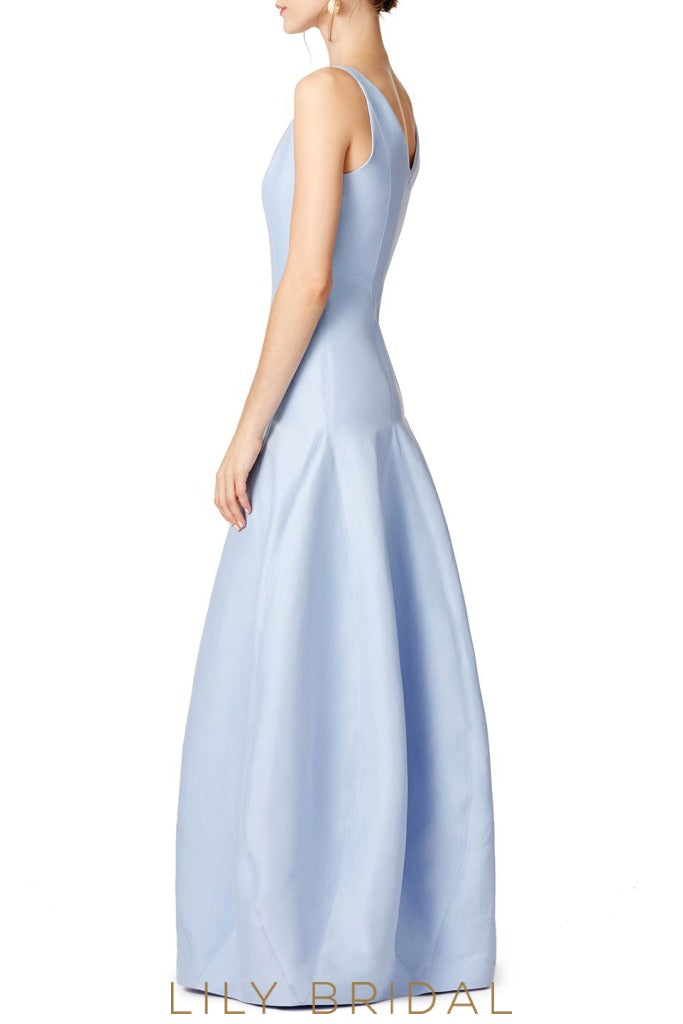 Blue Charmeuse Satin Deep V-Neck Dropped Waist Bridesmaid Dress
