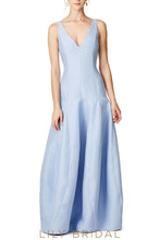 Sky Blue Charmeuse Satin Deep V-Neck Dropped Waist Bridesmaid Dress