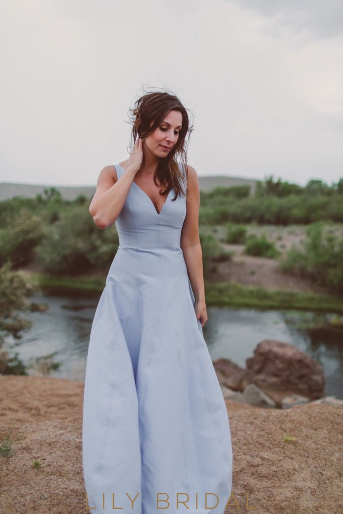 Sky Blue Satin Deep V-Neck Dropped Waist Bridesmaid Dress