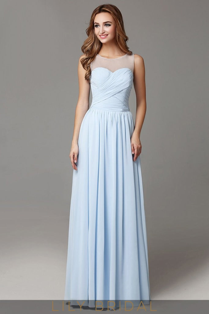 Sky Blue Chiffon A-line Sleeveless Long Prom Dress with Keyhole Back