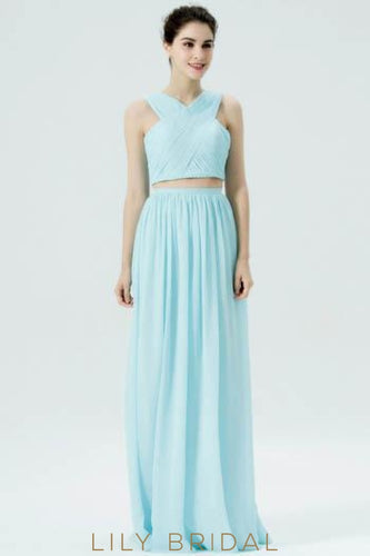 Sky Blue Chiffon Criss-Cross Neckline Two-Piece Long Bridesmaid Dress