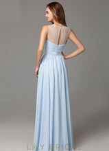Chiffon A-line Sleeveless Long Prom Dress with Keyhole Back