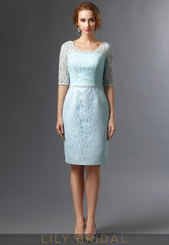 Blue Lace Satin Half Sleeves Knee Length Mother of the Bride Dresses