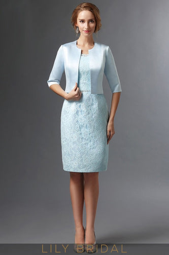 Sky Blue Lace Satin Half Sleeves Knee Length Mother of the Bride Dresses