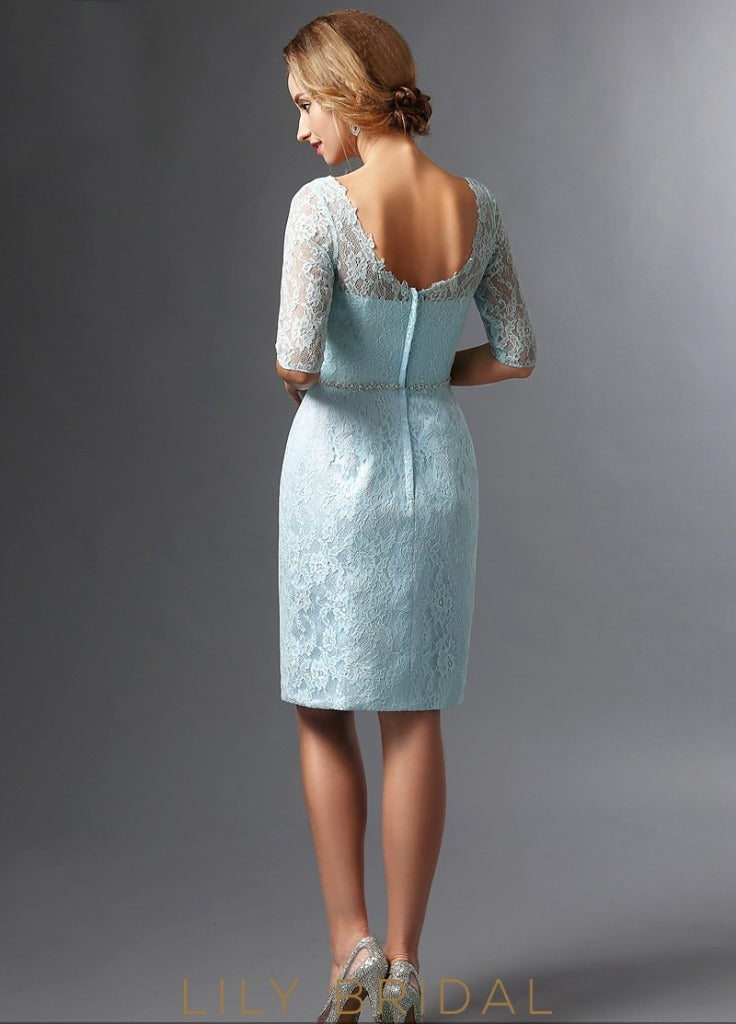 Lace Satin Half Sleeves Knee Length Mother of the Bride Dresses