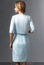 Sky Blue Satin Half Sleeves Knee Length Mother of the Bride Dresses