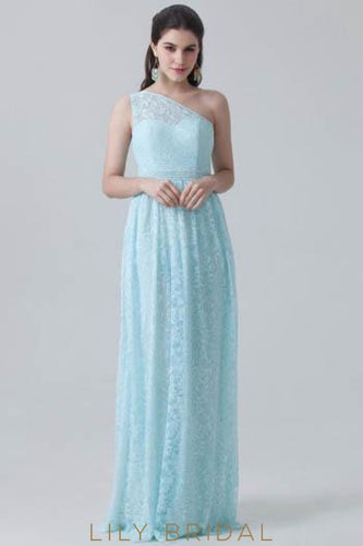 Sky Blue One-Shoulder Sweep Train Floral Lace Bridesmaid Dress