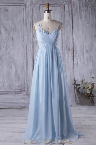 Sky Blue Ruched Chiffon Sweep Train Bridesmaid Dress With Hand-Made Flowers