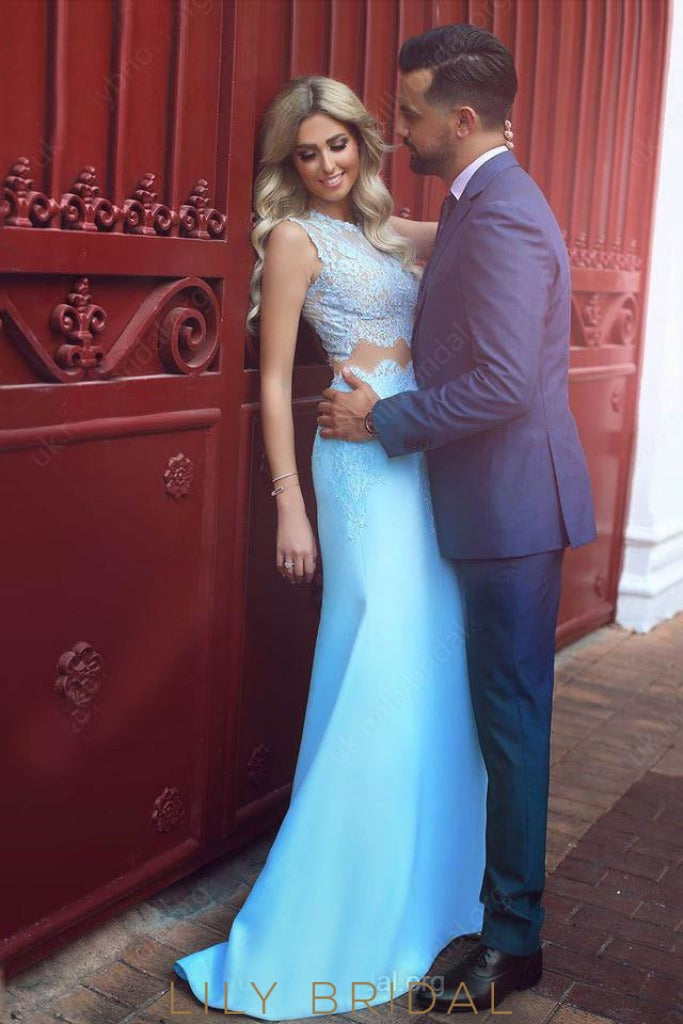 Sky Blue Two-Piece Satin Mermaid Prom Dress With Lace Bodice