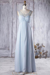 Sky Blue Scoop Neck Ruched Chiffon Bridesmaid Dress With Sequins