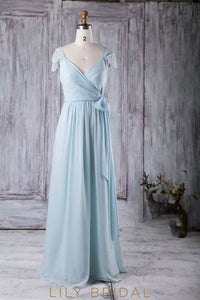 Sky Blue V-Neck Cap Sleeve Floor-Length Chiffon Bridesmaid Dress With Ribbon