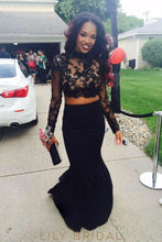High-Neck Two-piece Black Mermaid Satin Prom Dress