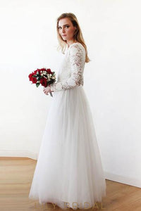 Sleeved Floor-Length Lace Tulle Bridal Dress With V-Neck