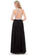 Sleeveless Halter Floor-Length Keyhole Back Prom Dress