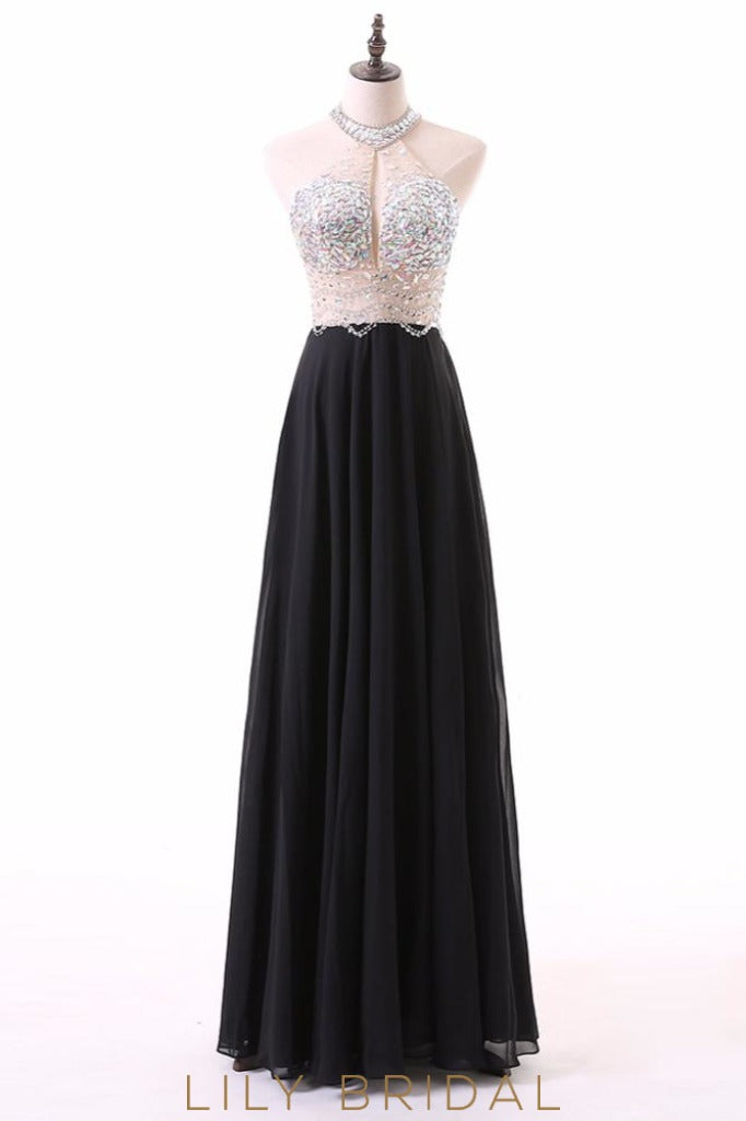 Sleeveless Halter Black Chiffon Keyhole Back Prom Dress