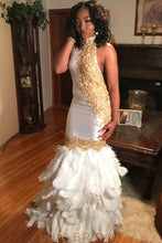 Sleeveless High Neckline Appliqued White Mermaid Prom Dress With Feather