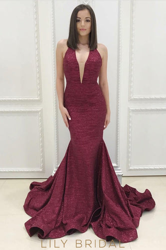 Plunging V-Neckline Open Back Burgundy Sequinned Prom Dress