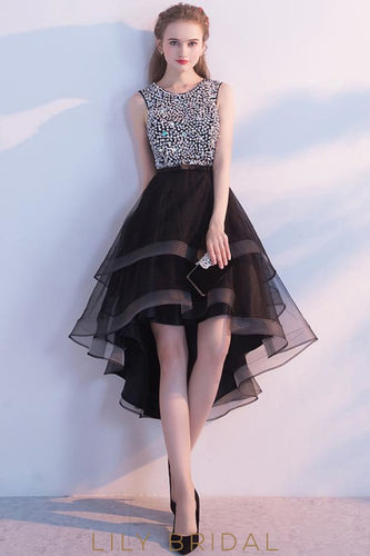 Sleeveless Jewel Neckline Black Organza High-Low Prom Dress With Beaded Top