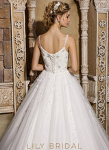 Ivory Sleeveless Tulle Ball Gown Beaded Wedding Dress