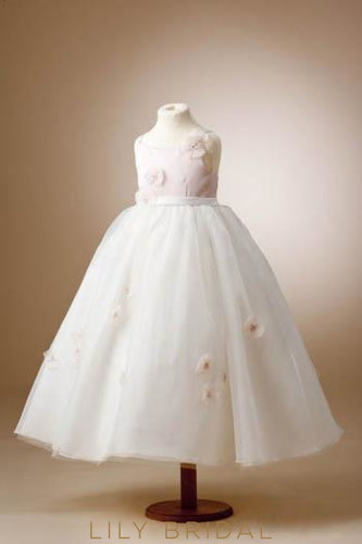 Spaghetti Strap Ball Gown Flower Girl Dress With 3D Flowers
